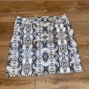 Snake Skin Denim Skirt